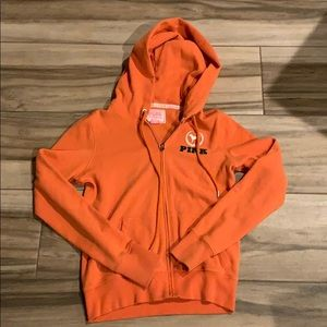 Pink University of Miami hooded sweat jacket